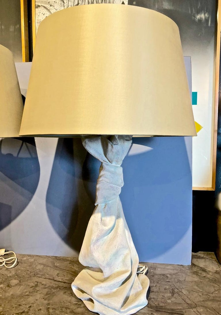 Pair of John Dickinson Style Draped Lamps, circa 1970 In Good Condition For Sale In Pasadena, CA