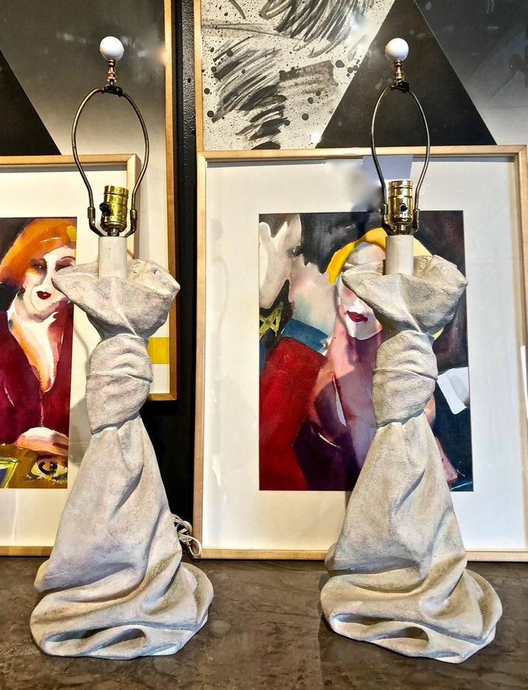 Pair of John Dickinson Style Draped Lamps, circa 1970 For Sale 1