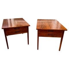 Pair John Stuart or Lane Walnut End Tables