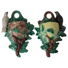 Pair of JRL Majolica Bird and Nest Wall Pockets