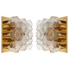 Pair Kalmar Sconces or Flush Mount Lights, Brass Cast Ice Glass, 1970s