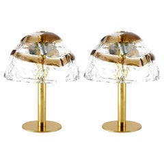 Pair of Kalmar Table Lamps, Brass and Murano Glass, 1970
