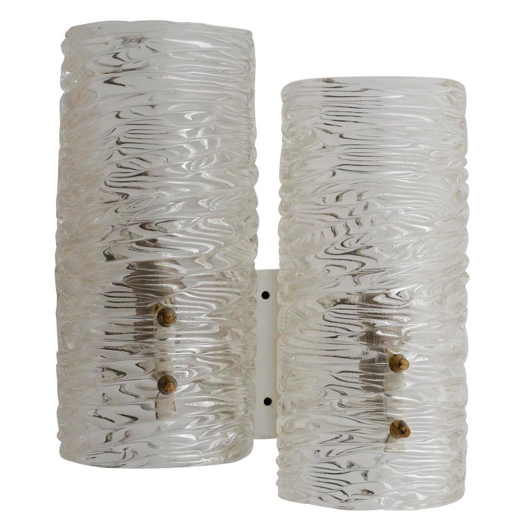 A pair of textured glass wall lamps by J.T. Kalmar, Austria, manufactured in midcentury, circa 1960 (late 1950s or early 1960s).
