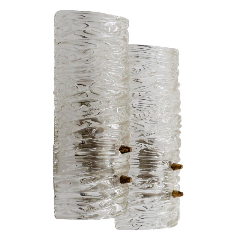 Mid-Century Modern Pair of Kalmar Textured Glass Sconces Wall Lights, circa 1960 For Sale