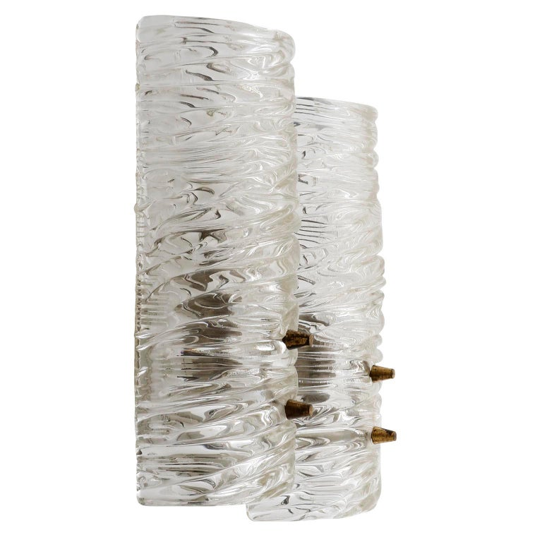 Austrian Pair of Kalmar Textured Glass Sconces Wall Lights, circa 1960 For Sale