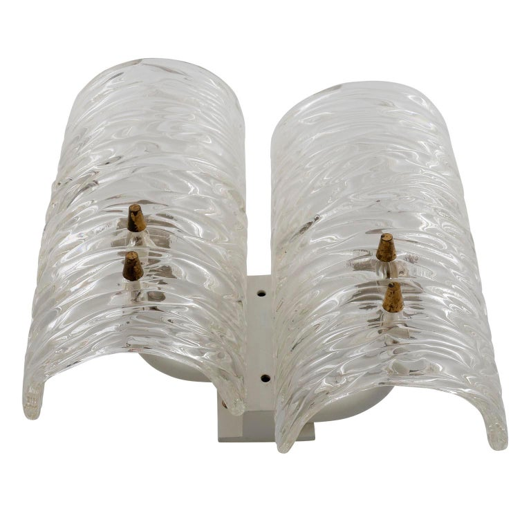 Pair of Kalmar Textured Glass Sconces Wall Lights, circa 1960 In Good Condition For Sale In Vienna, AT