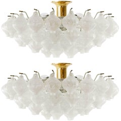 Pair Kalmar 'Tulipan' Flush Mount Lights Chandeliers, Murano Glass Brass, 1970