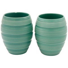 Pair Keith Murray Barrel Vases in Green