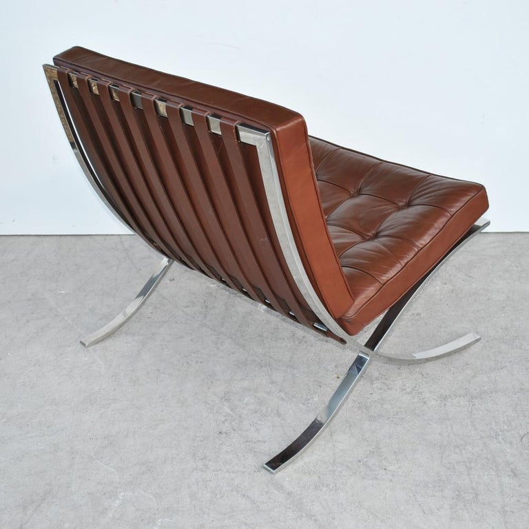 Mid-Century Modern Pair of Knoll Barcelona Stainless Steel Lounge Chairs by Mies Van Der Rohe For Sale
