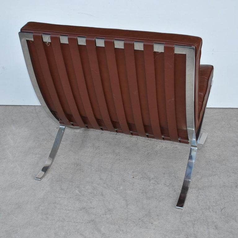 American Pair of Knoll Barcelona Stainless Steel Lounge Chairs by Mies Van Der Rohe For Sale