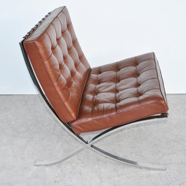 Pair of Knoll Barcelona Stainless Steel Lounge Chairs by Mies Van Der Rohe In Good Condition For Sale In Pasadena, TX