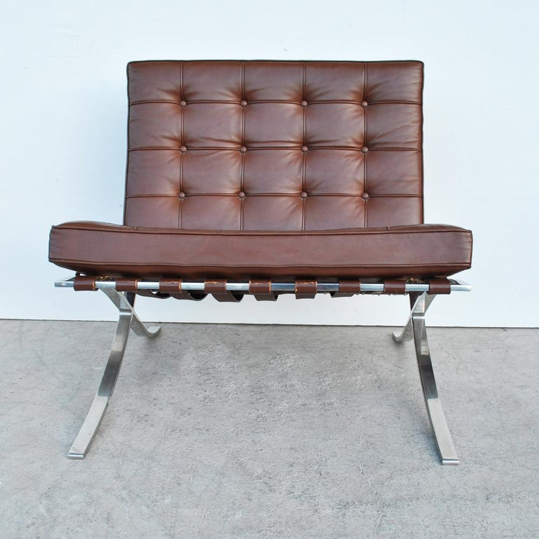 Late 20th Century Pair of Knoll Barcelona Stainless Steel Lounge Chairs by Mies Van Der Rohe For Sale