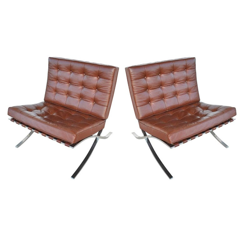 Pair Of Knoll Barcelona Stainless Steel Lounge Chairs By Mies Van