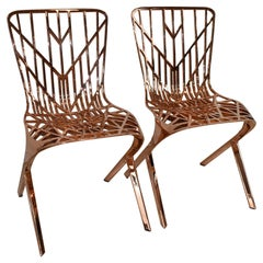 Pair of Knoll Copper Plated Skeleton Chairs David Washington Design for Knoll