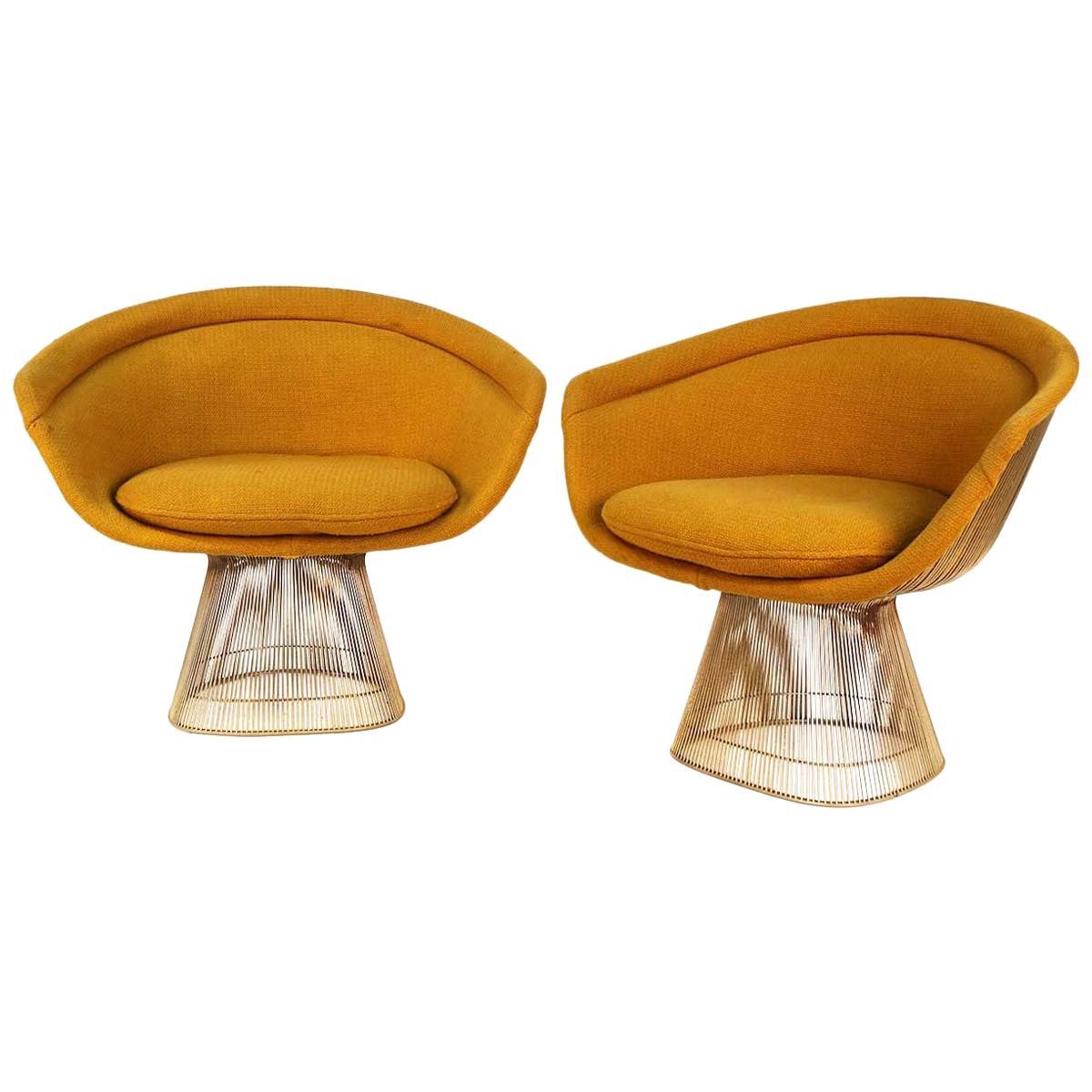 Pair Knoll International Warren Platner Wire Lounge Chair