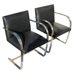 Pair of Knoll Studio Flat Bar Brno Chairs Stainless Steel Black Leather