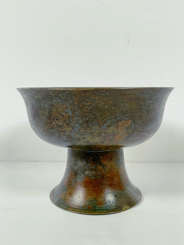 Pair of Korean Goryeo Dynasty Bronze Pedestal Bowls, 13th-15th Century, Korea For Sale 7