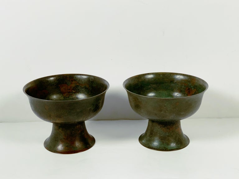 Pair of Korean Goryeo Dynasty Bronze Pedestal Bowls, 13th-15th Century, Korea In Good Condition For Sale In Austin, TX