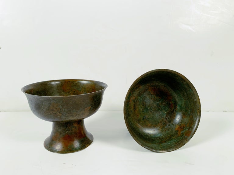 Pair of Korean Goryeo Dynasty Bronze Pedestal Bowls, 13th-15th Century, Korea For Sale 1