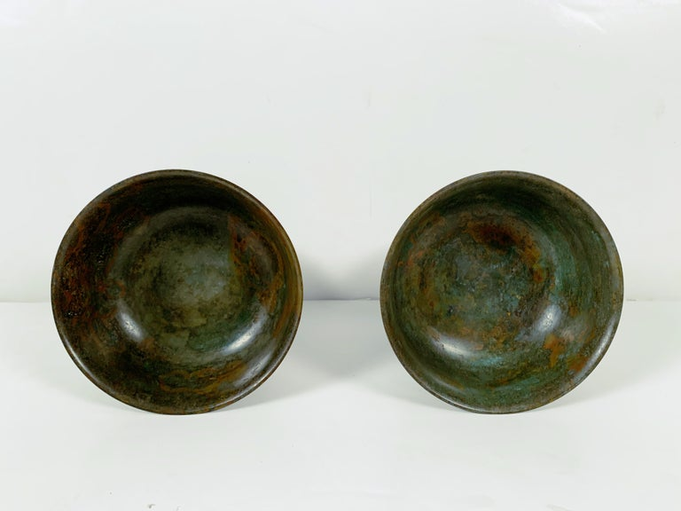 Pair of Korean Goryeo Dynasty Bronze Pedestal Bowls, 13th-15th Century, Korea For Sale 2
