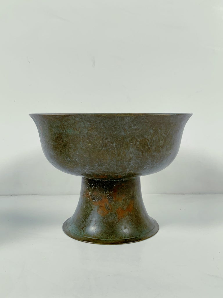 Pair of Korean Goryeo Dynasty Bronze Pedestal Bowls, 13th-15th Century, Korea For Sale 5