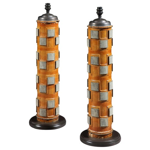 Pair, Lamps, Table, Print Roller, Wood, Metal, Victorian, Upcycled