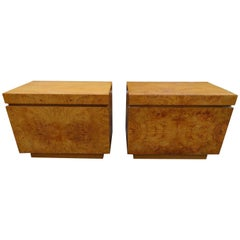 Pair of Lane Burl Wood Milo Baughman Style Nightstands Lane Mid-Century Modern