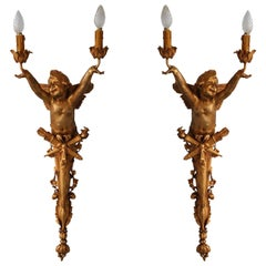 Pair Large 2 Lights Sconces 1900 Art Nouveau Gilded Bronze with Baby