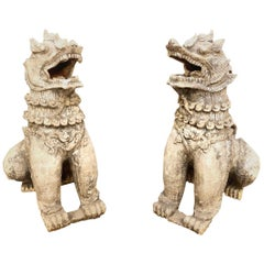 Pair of Large Antique Chinese Terracotta Foo Dogs