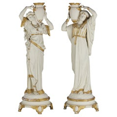 Pair of Large Antique J. E. Caldwell Egyptian Revival Bisque and Gilt Statues