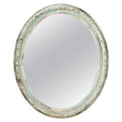 Pair of Large Blue Oval Mirrors, 20th Century