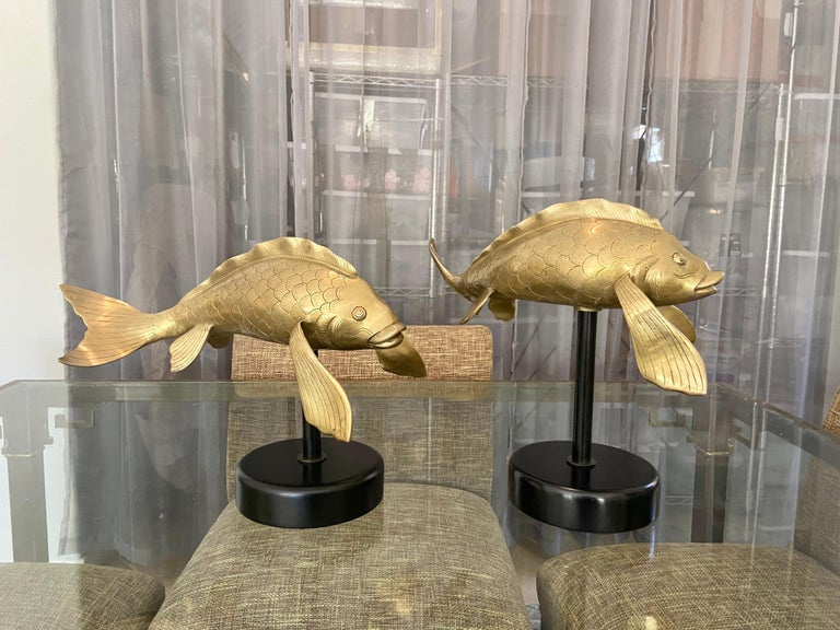 Pair of Large Brass Koi Fish Figural Sculptures For Sale 5