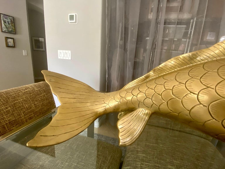 Pair of Large Brass Koi Fish Figural Sculptures For Sale 9