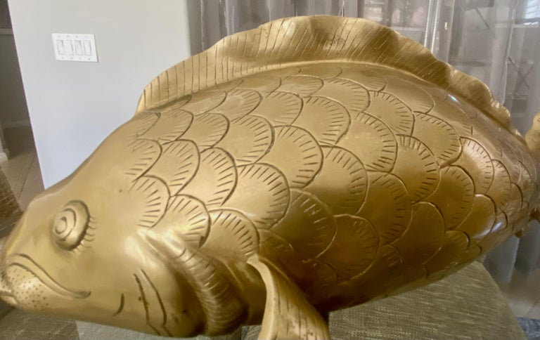 Pair of Large Brass Koi Fish Figural Sculptures For Sale 10