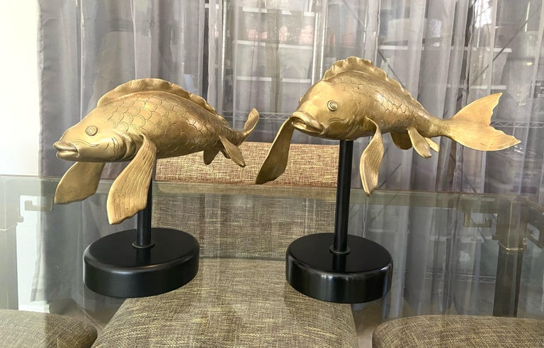 Pair of Large Brass Koi Fish Figural Sculptures For Sale 1