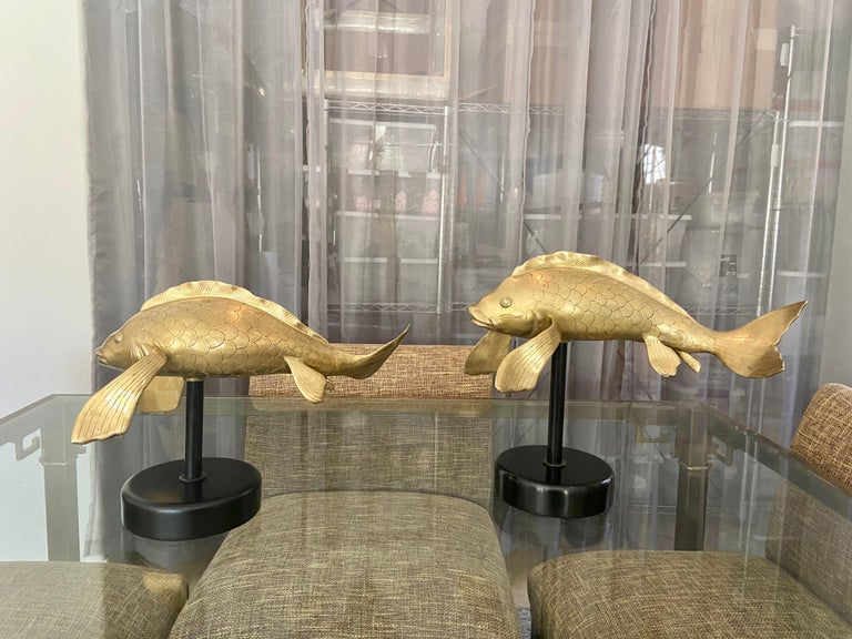 Pair of Large Brass Koi Fish Figural Sculptures For Sale 3