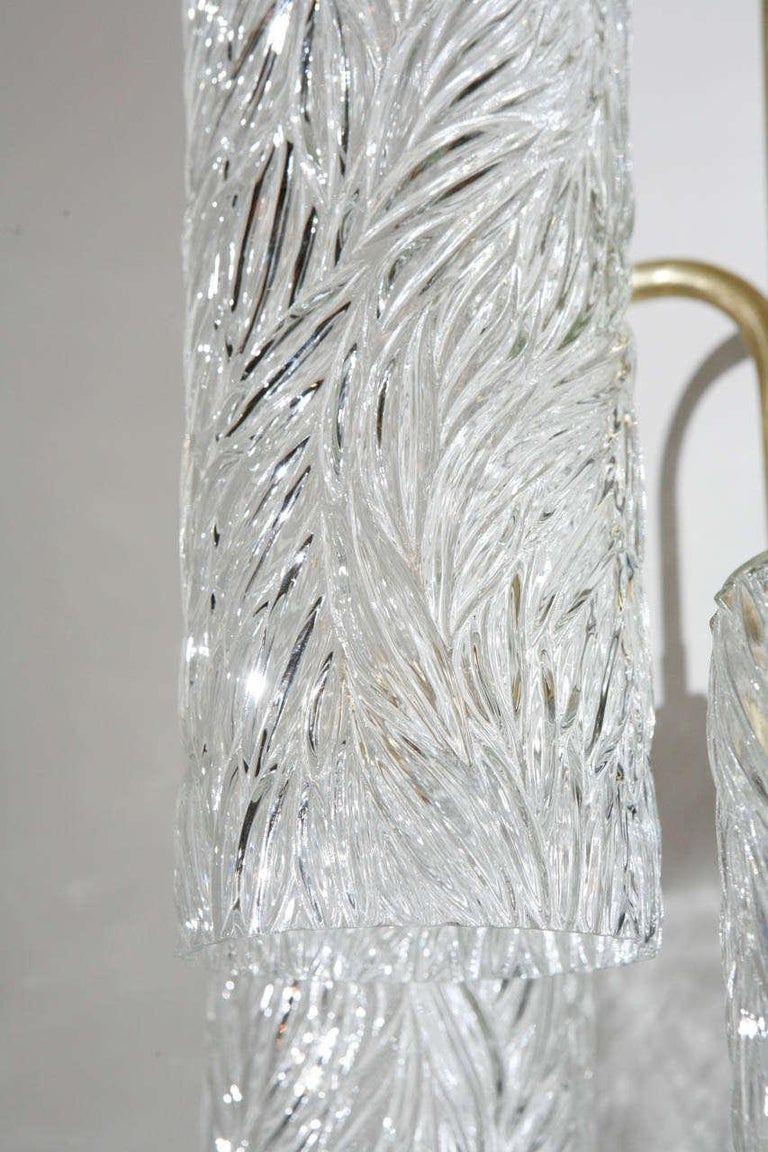 Pair of Large Brass Sconces with Vintage German Glass In Good Condition For Sale In Los Angeles, CA