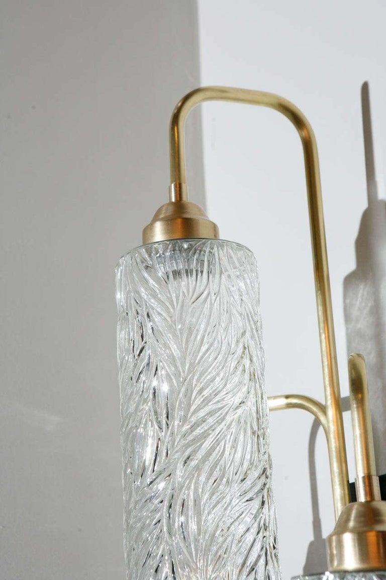 Contemporary Pair of Large Brass Sconces with Vintage German Glass For Sale