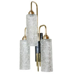 Pair of Large Brass Sconces with Vintage German Glass