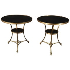 Pair Large Bronze & Black Marble Maison Jansen Gueridon End Tables. circa 1950