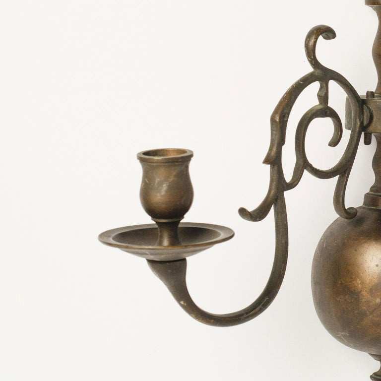Baroque Pair of Large Bronze Two-Arm Sconces For Sale