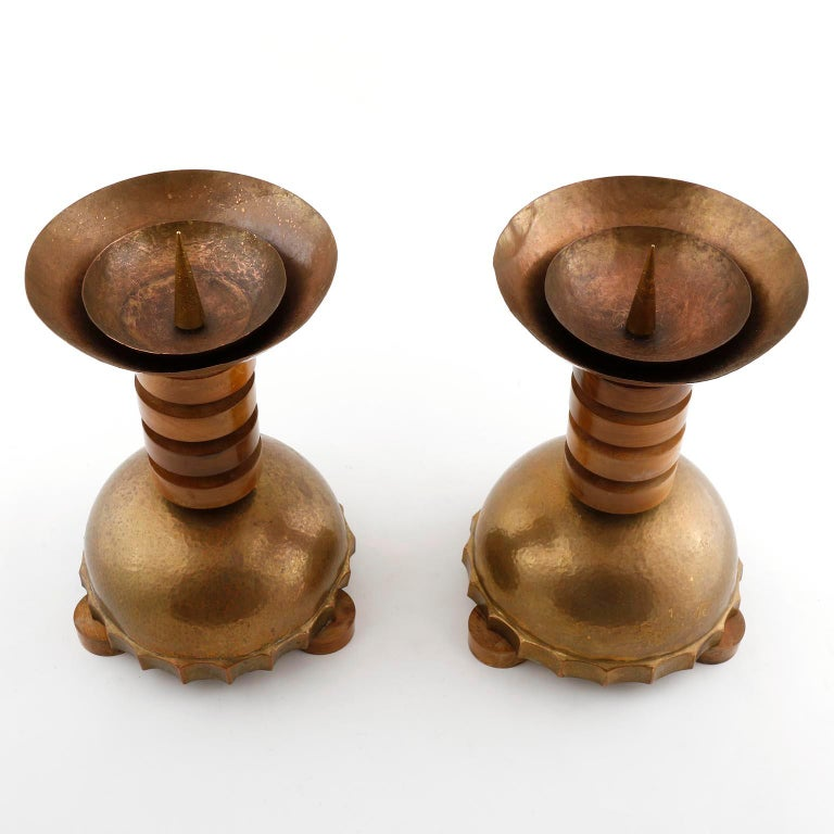 Italian Pair of Large Candleholders, Wood Patinated Hammered Brass Copper, Art Deco For Sale