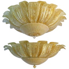 Pair of Large Ceiling Leaves Barovier & Toso Style, Murano, 1980s