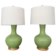 Pair of Large Chinese Asian Apple Green Porcelain Table Lamps
