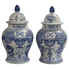 Pair Large Chinese Blue & White Figural Decorated Lidded Porcelain Urns 20th C