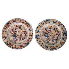 Pair Large Chinese Imari Porcelain Dishes Hand-Painted, Circa 1760