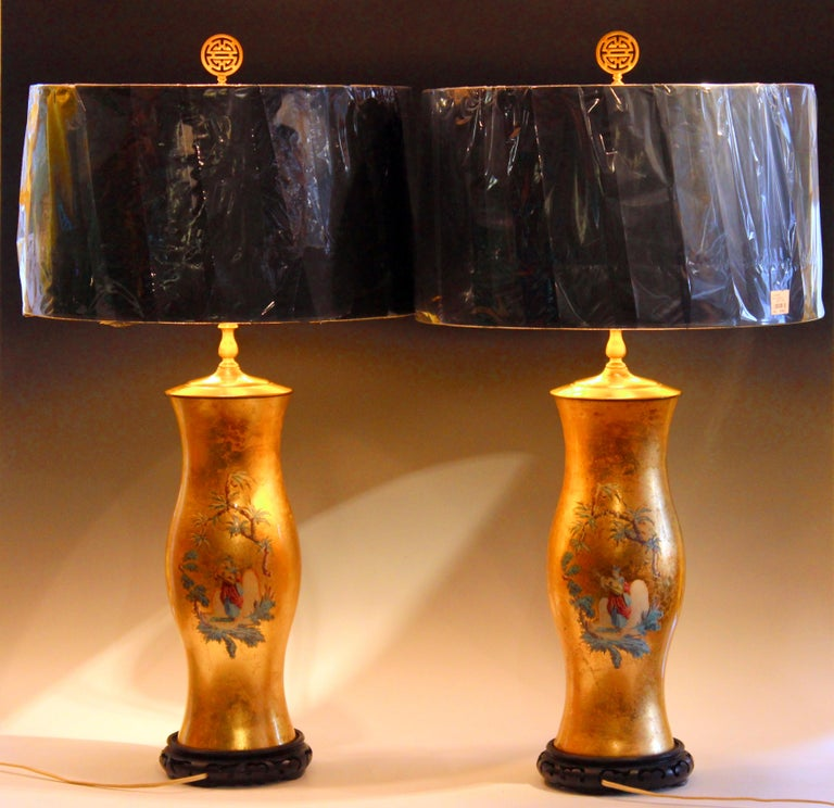 Pair of Large Eglomise Chinoiserie Gilt Decalcomania Vintage Vase Lamps For Sale 3