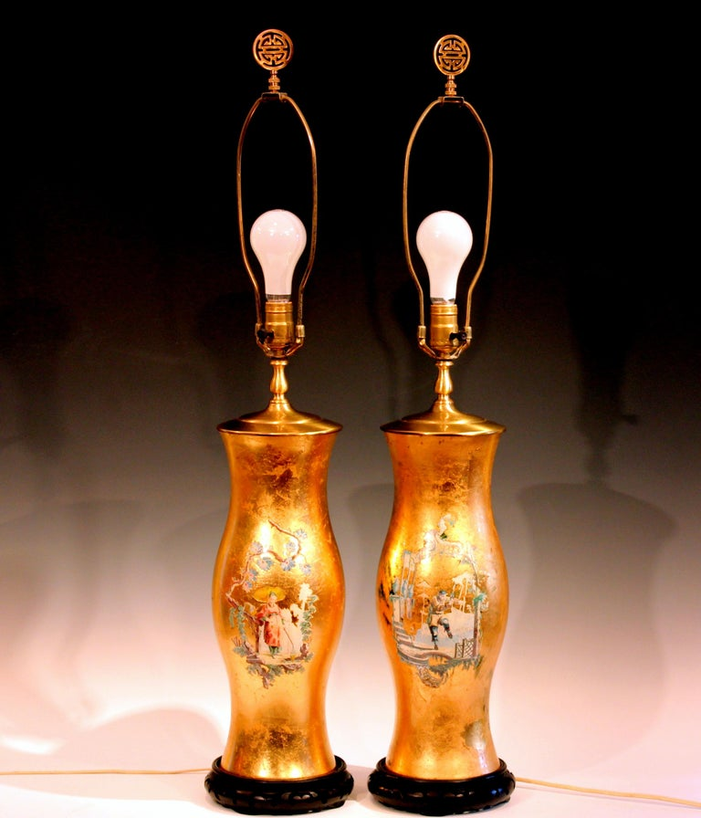 Empire Pair of Large Eglomise Chinoiserie Gilt Decalcomania Vintage Vase Lamps For Sale