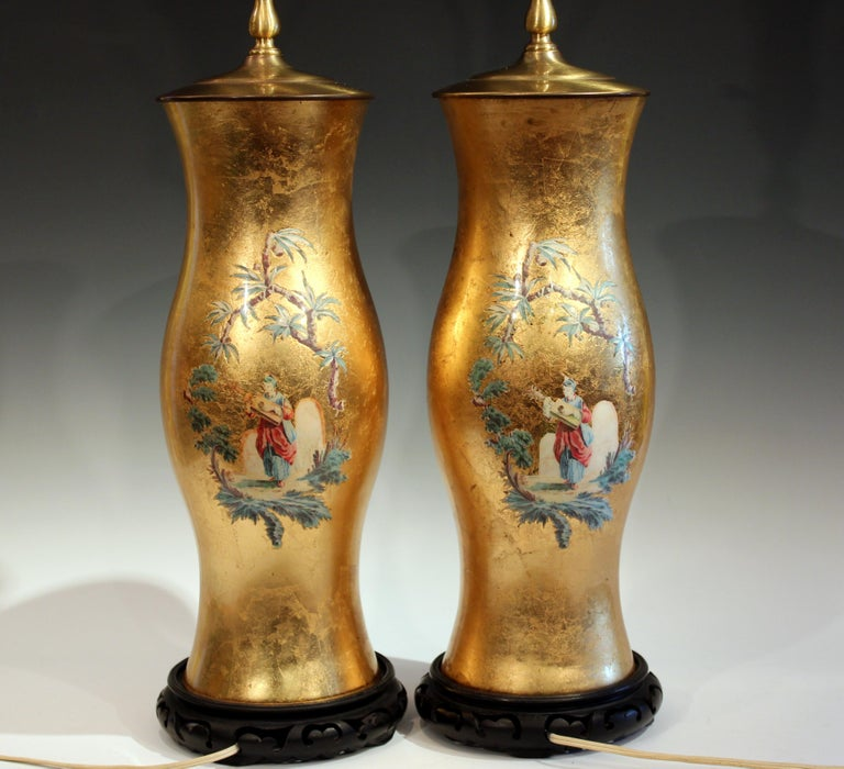 Pair of Large Eglomise Chinoiserie Gilt Decalcomania Vintage Vase Lamps In Excellent Condition For Sale In Wilton, CT