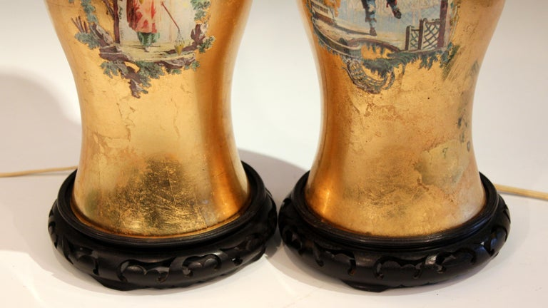 Pair of Large Eglomise Chinoiserie Gilt Decalcomania Vintage Vase Lamps For Sale 2